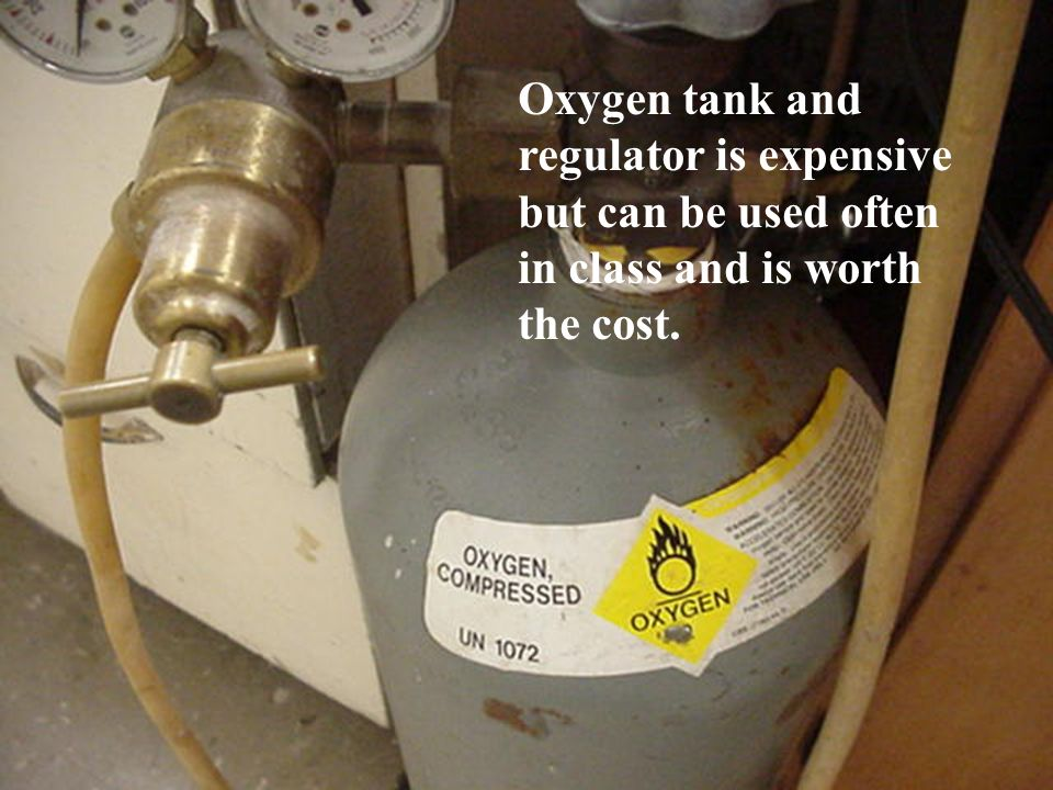 Oxygen tank and regulator is expensive but can be used often in class and is worth the cost.