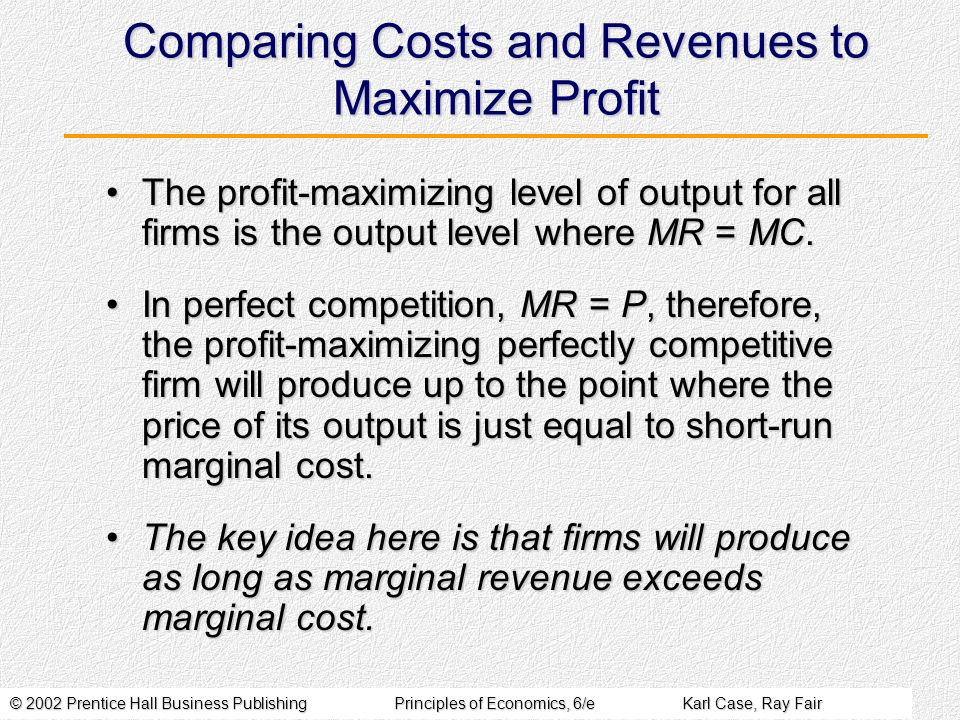 © 2002 Prentice Hall Business PublishingPrinciples of Economics, 6/eKarl Case, Ray Fair Comparing Costs and Revenues to Maximize Profit The profit-maximizing level of output for all firms is the output level where MR = MC.The profit-maximizing level of output for all firms is the output level where MR = MC.