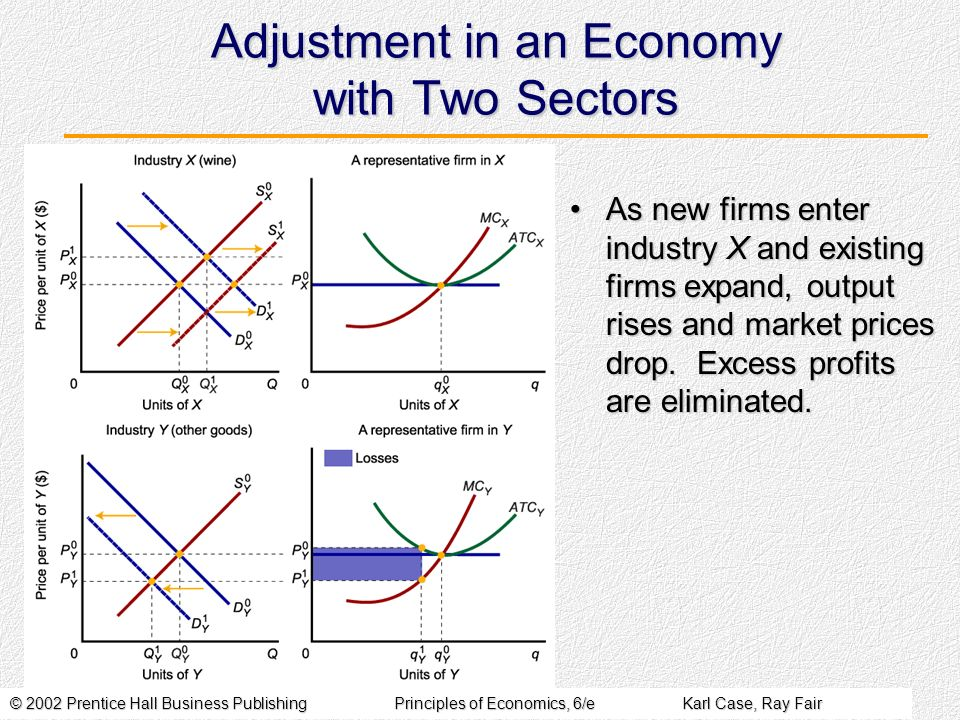 © 2002 Prentice Hall Business PublishingPrinciples of Economics, 6/eKarl Case, Ray Fair Adjustment in an Economy with Two Sectors As new firms enter industry X and existing firms expand, output rises and market prices drop.