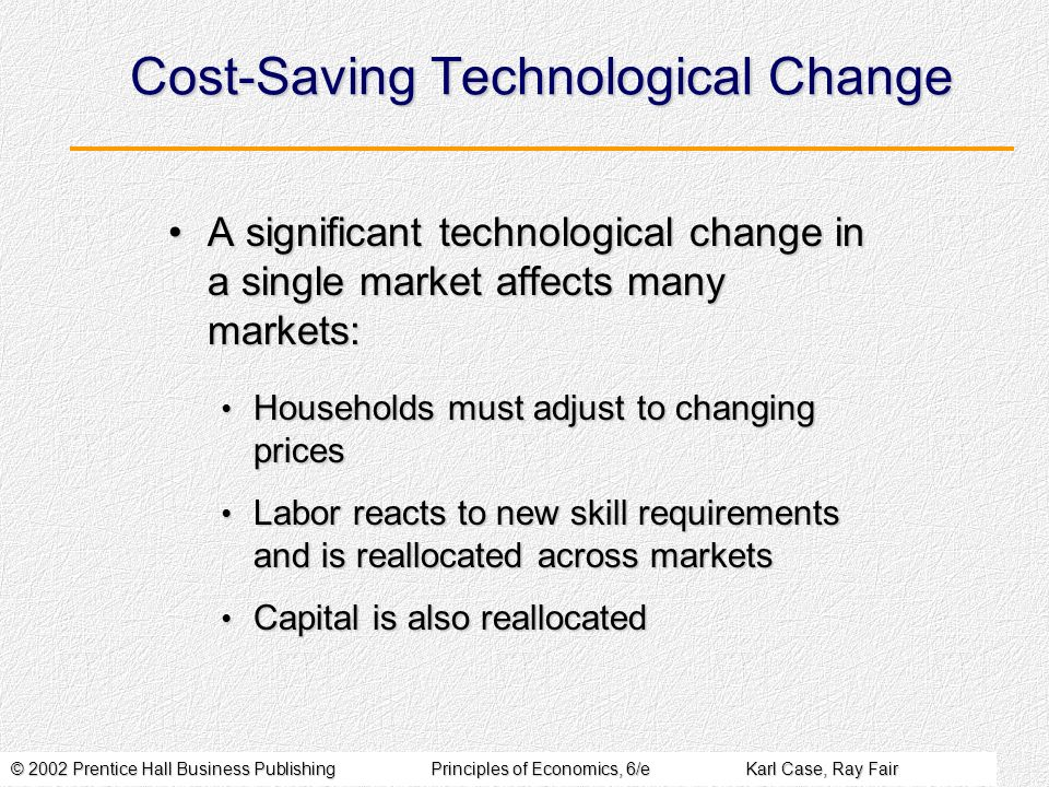 © 2002 Prentice Hall Business PublishingPrinciples of Economics, 6/eKarl Case, Ray Fair Cost-Saving Technological Change A significant technological change in a single market affects many markets:A significant technological change in a single market affects many markets: Households must adjust to changing prices Households must adjust to changing prices Labor reacts to new skill requirements and is reallocated across markets Labor reacts to new skill requirements and is reallocated across markets Capital is also reallocated Capital is also reallocated