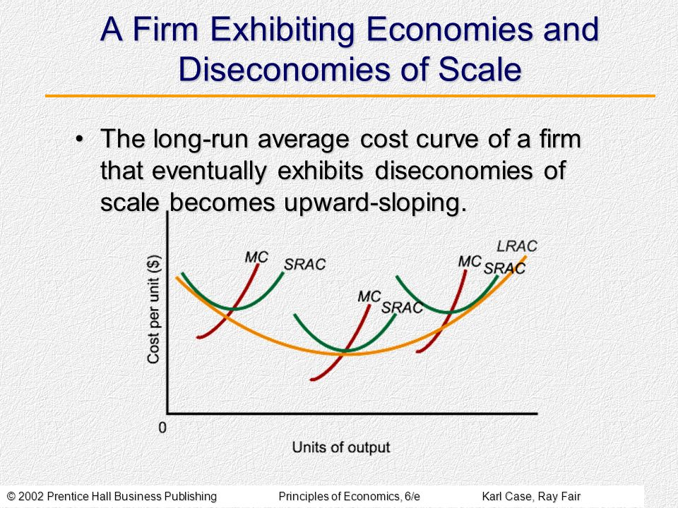 © 2002 Prentice Hall Business PublishingPrinciples of Economics, 6/eKarl Case, Ray Fair A Firm Exhibiting Economies and Diseconomies of Scale The long
