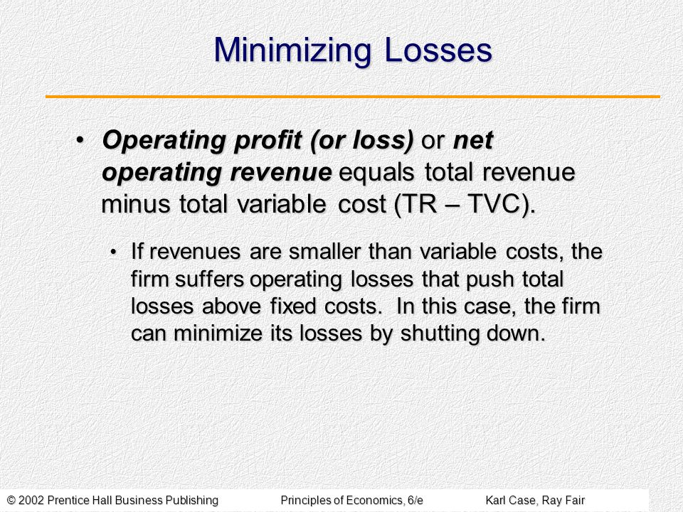 © 2002 Prentice Hall Business PublishingPrinciples of Economics, 6/eKarl Case, Ray Fair Minimizing Losses If revenues are smaller than variable costs,