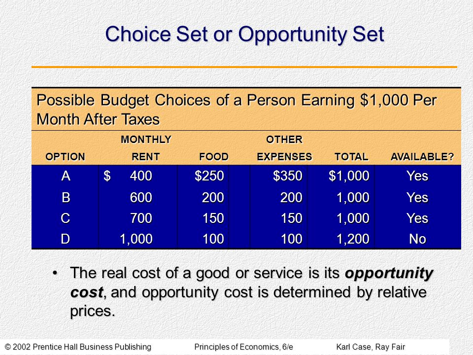 © 2002 Prentice Hall Business PublishingPrinciples of Economics, 6/eKarl Case, Ray Fair Choice Set or Opportunity Set Possible Budget Choices of a Per