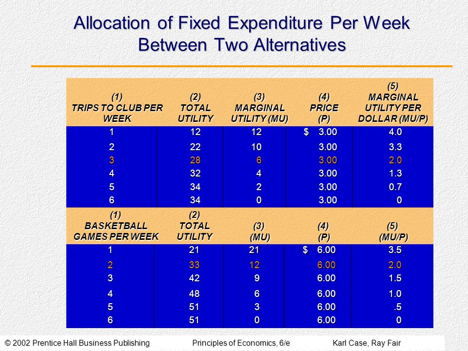 © 2002 Prentice Hall Business PublishingPrinciples of Economics, 6/eKarl Case, Ray Fair Allocation of Fixed Expenditure Per Week Between Two Alternati
