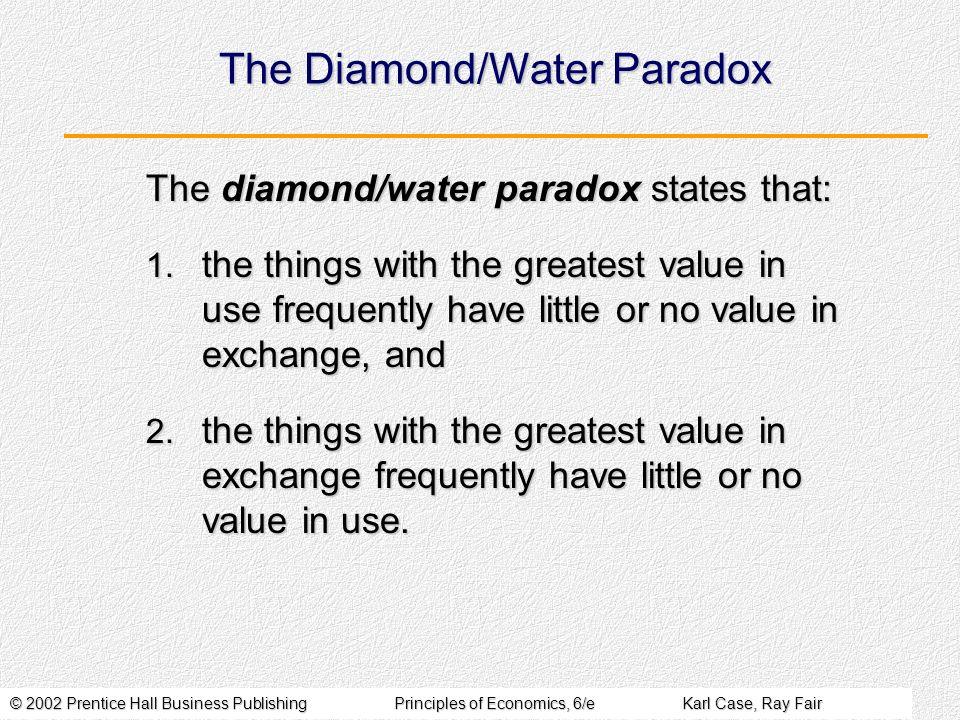 © 2002 Prentice Hall Business PublishingPrinciples of Economics, 6/eKarl Case, Ray Fair The Diamond/Water Paradox The diamond/water paradox states tha