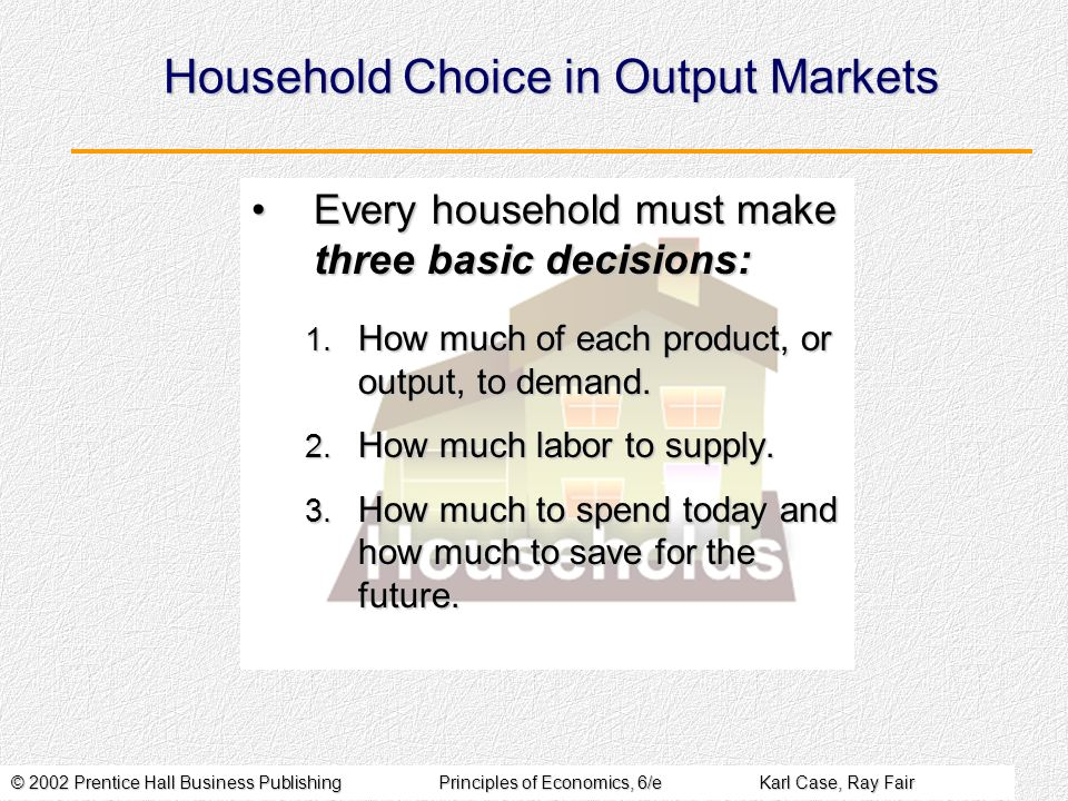 © 2002 Prentice Hall Business PublishingPrinciples of Economics, 6/eKarl Case, Ray Fair Household Choice in Output Markets Every household must make t