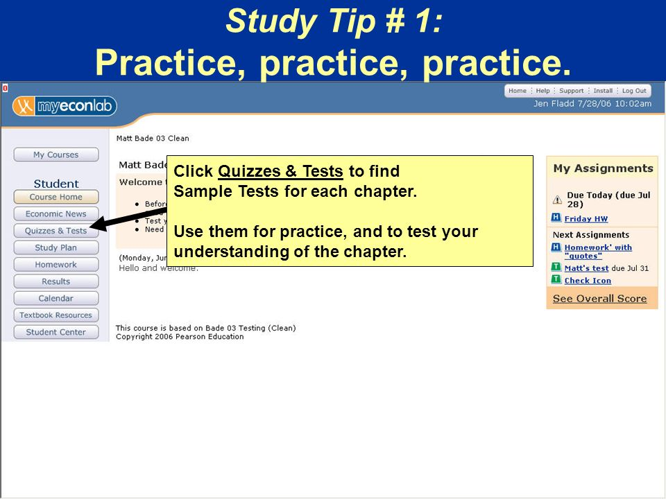 Click Quizzes & Tests to find Sample Tests for each chapter.