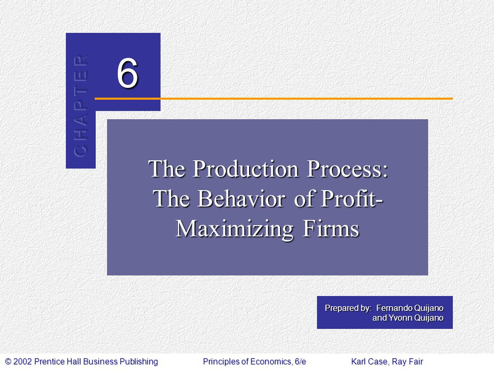 © 2002 Prentice Hall Business PublishingPrinciples of Economics, 6/eKarl Case, Ray Fair 6 Prepared by: Fernando Quijano and Yvonn Quijano The Production Process: The Behavior of Profit- Maximizing Firms
