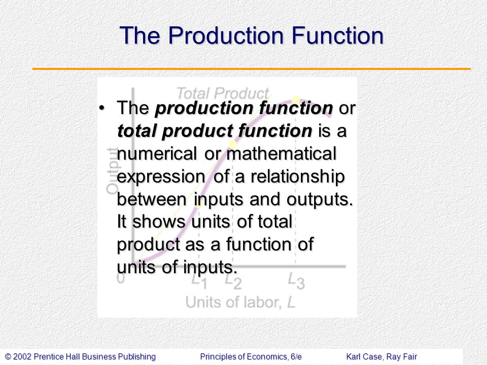 © 2002 Prentice Hall Business PublishingPrinciples of Economics, 6/eKarl Case, Ray Fair The Production Function The production function or total product function is a numerical or mathematical expression of a relationship between inputs and outputs.