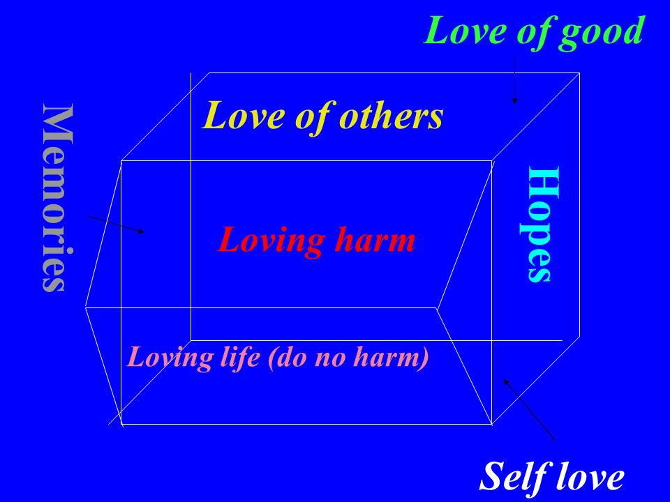 Love of others Self love Memories Hopes Love of good Loving life (do no harm) Loving harm
