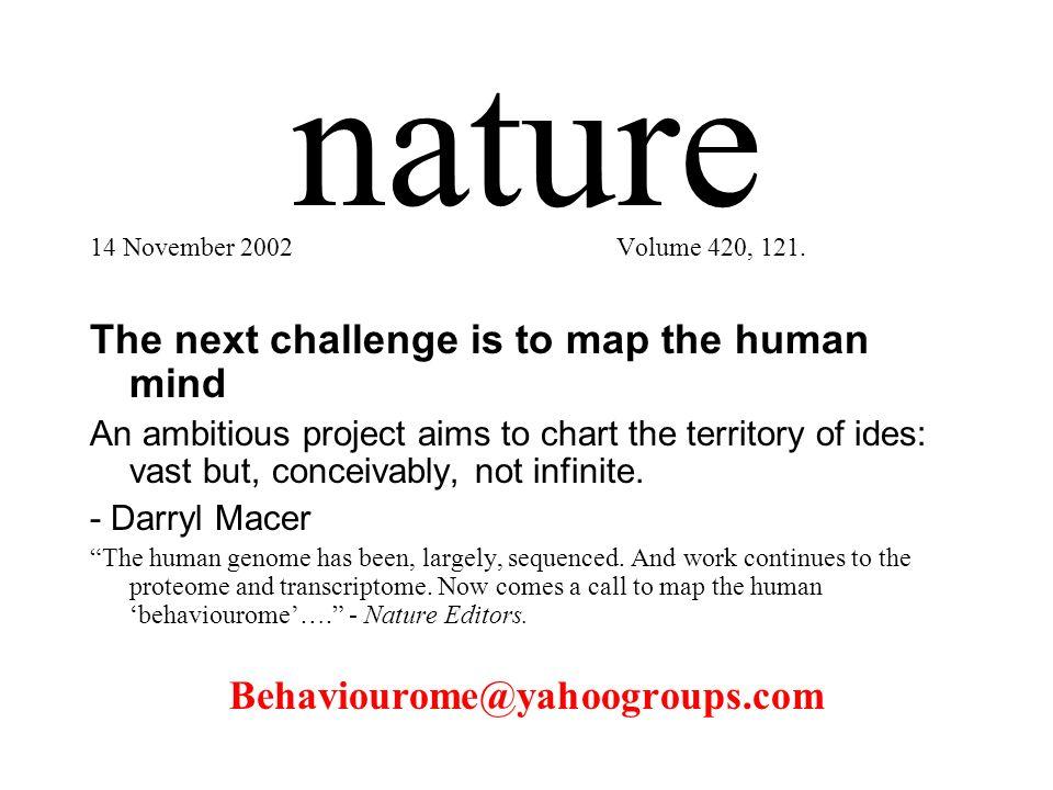nature 14 November 2002Volume 420, 121.