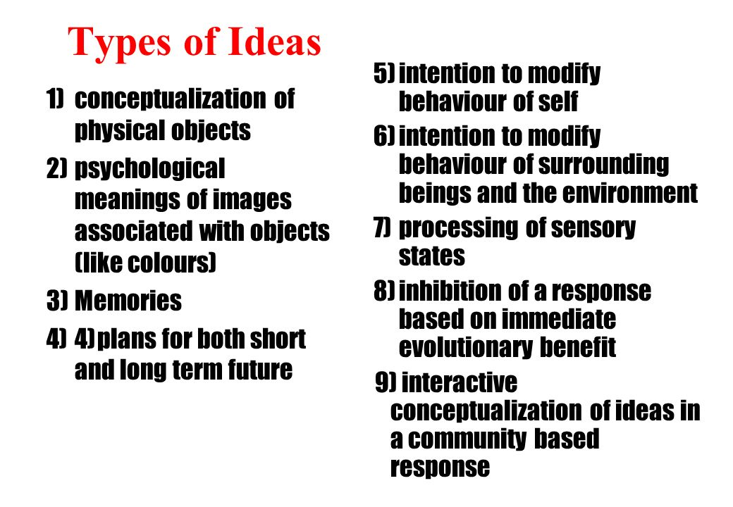 Types of Ideas 1)conceptualization of physical objects 2)psychological meanings of images associated with objects (like colours) 3)Memories 4)4)plans for both short and long term future 5)intention to modify behaviour of self 6)intention to modify behaviour of surrounding beings and the environment 7)processing of sensory states 8)inhibition of a response based on immediate evolutionary benefit 9) interactive conceptualization of ideas in a community based response