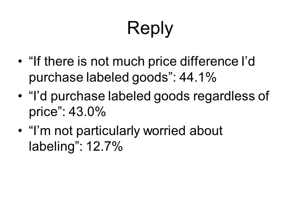Reply If there is not much price difference Id purchase labeled goods: 44.1% Id purchase labeled goods regardless of price: 43.0% Im not particularly