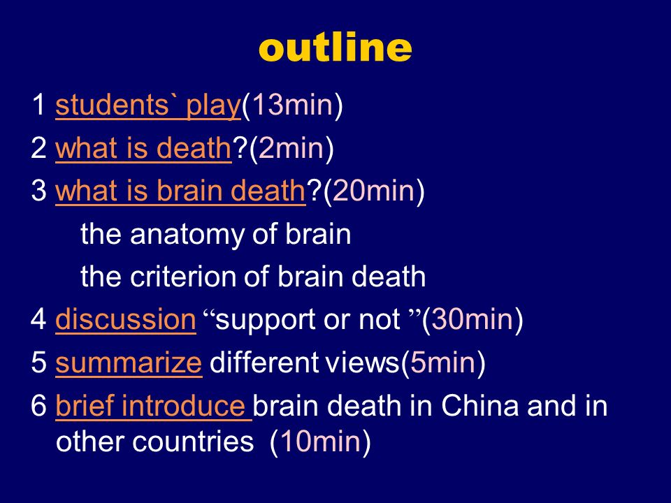 outline 1 students` play(13min)students` play 2 what is death?(2min)what is death 3 what is brain death?(20min)what is brain death the anatomy of brai