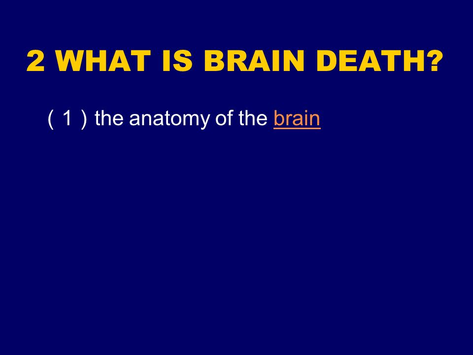 2 WHAT IS BRAIN DEATH? 1 the anatomy of the brainbrain