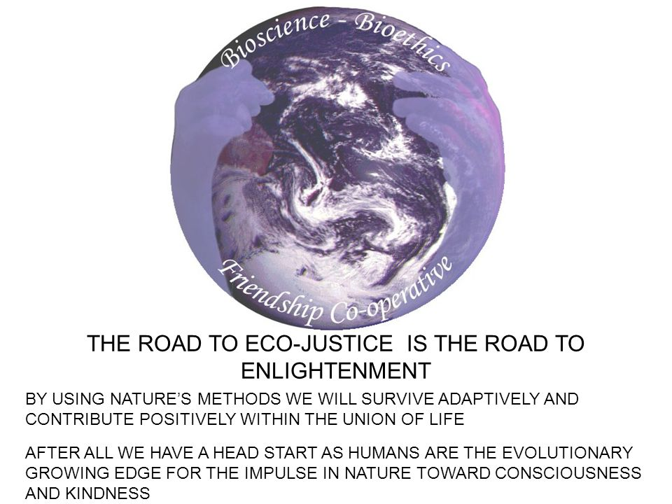 THE ROAD TO ECO-JUSTICE IS THE ROAD TO ENLIGHTENMENT BY USING NATURES METHODS WE WILL SURVIVE ADAPTIVELY AND CONTRIBUTE POSITIVELY WITHIN THE UNION OF LIFE AFTER ALL WE HAVE A HEAD START AS HUMANS ARE THE EVOLUTIONARY GROWING EDGE FOR THE IMPULSE IN NATURE TOWARD CONSCIOUSNESS AND KINDNESS