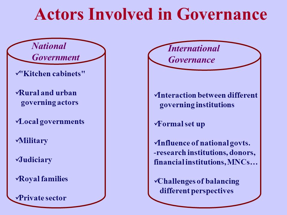 Actors Involved in Governance National Government Kitchen cabinets Rural and urban governing actors Local governments Military Judiciary Royal families Private sector International Governance Interaction between different governing institutions Formal set up Influence of national govts.