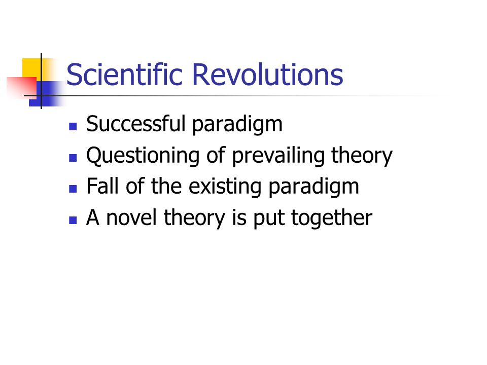 Scientific Revolutions Successful paradigm Questioning of prevailing theory Fall of the existing paradigm A novel theory is put together