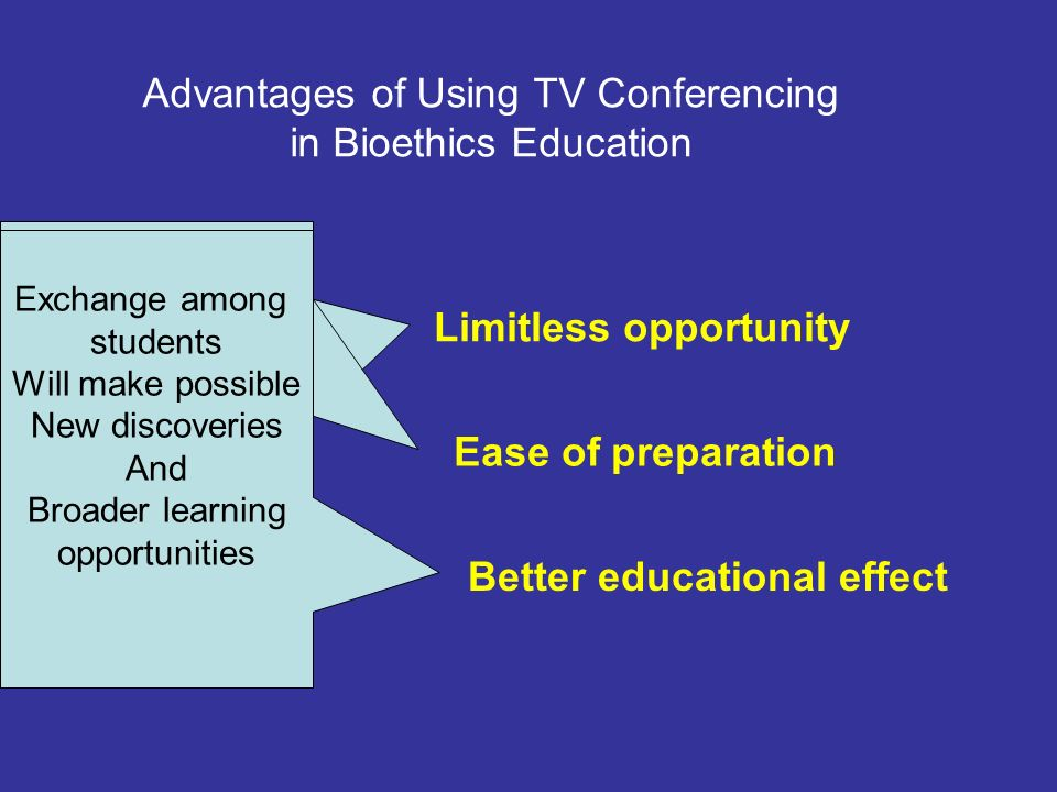 Advantages of Using TV Conferencing in Bioethics Education Limitless opportunity Ease of preparation Better educational effect To learn without the Limitation of locations, grades subjects Teachers need to have a tremendous amount of discussion and preparation seminars Exchange among students Will make possible New discoveries And Broader learning opportunities