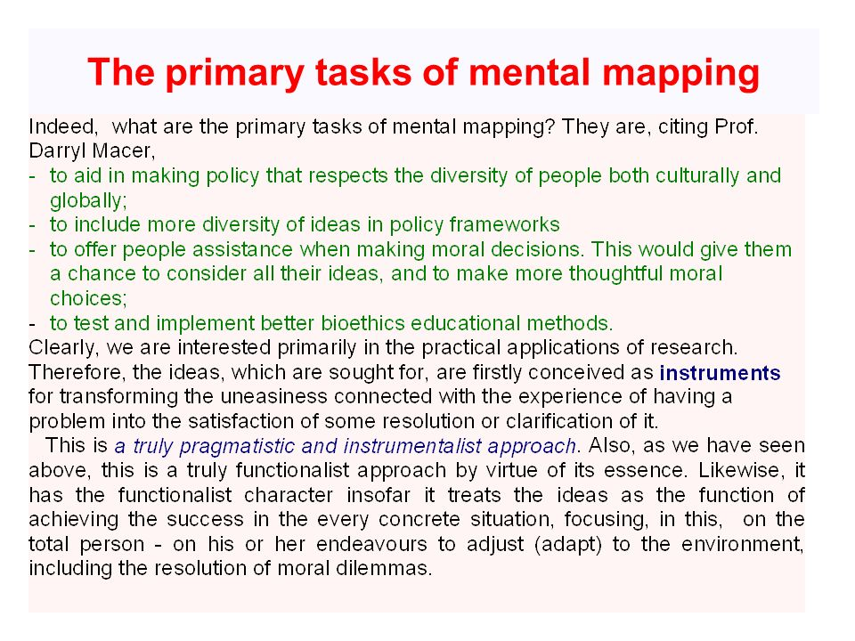 The primary tasks of mental mapping