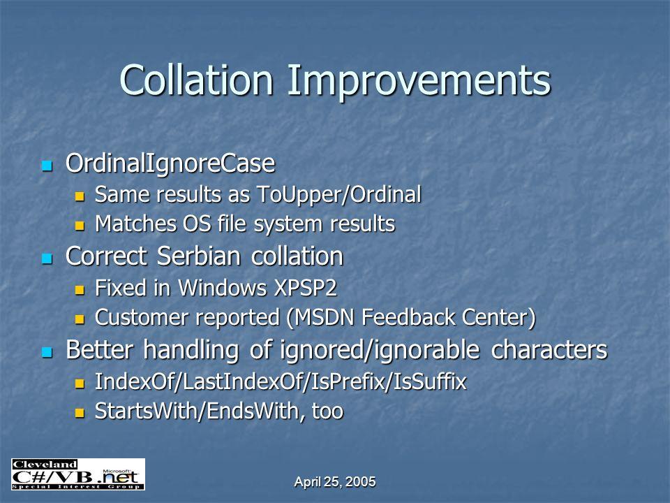 April 25, 2005 Collation Improvements OrdinalIgnoreCase OrdinalIgnoreCase Same results as ToUpper/Ordinal Same results as ToUpper/Ordinal Matches OS f