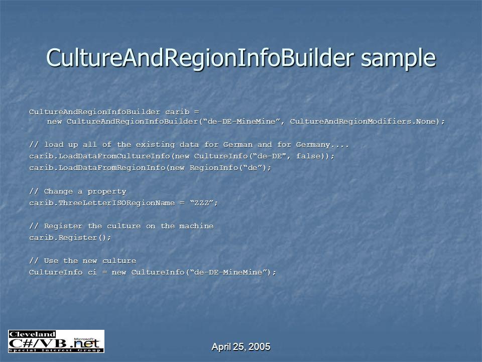 April 25, 2005 CultureAndRegionInfoBuilder sample CultureAndRegionInfoBuilder carib = new CultureAndRegionInfoBuilder(de-DE-MineMine, CultureAndRegion