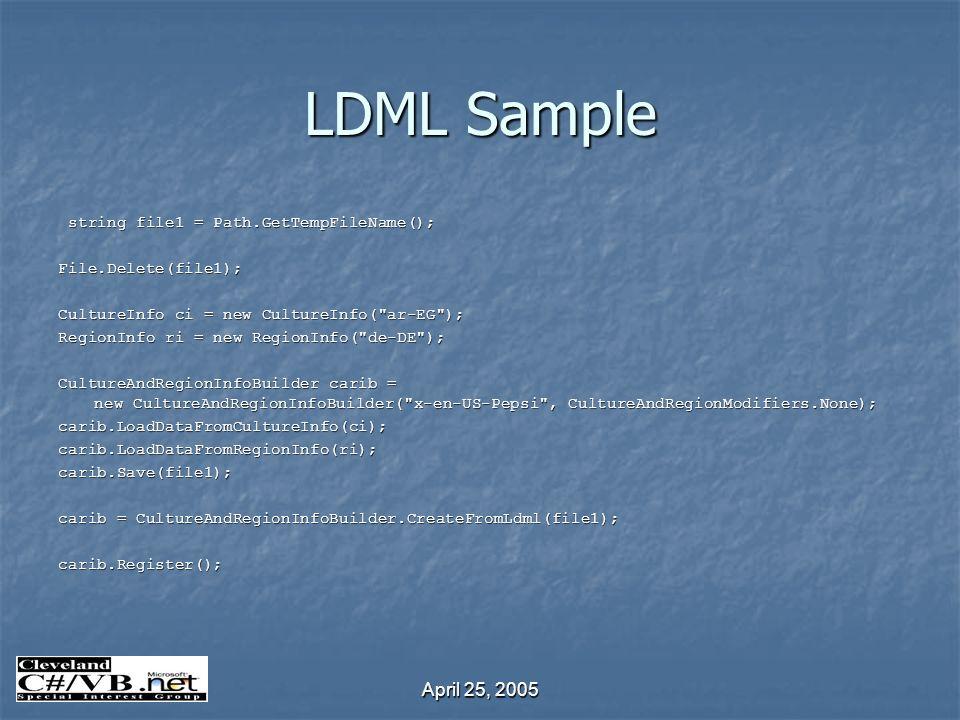 April 25, 2005 LDML Sample string file1 = Path.GetTempFileName(); string file1 = Path.GetTempFileName();File.Delete(file1); CultureInfo ci = new Cultu