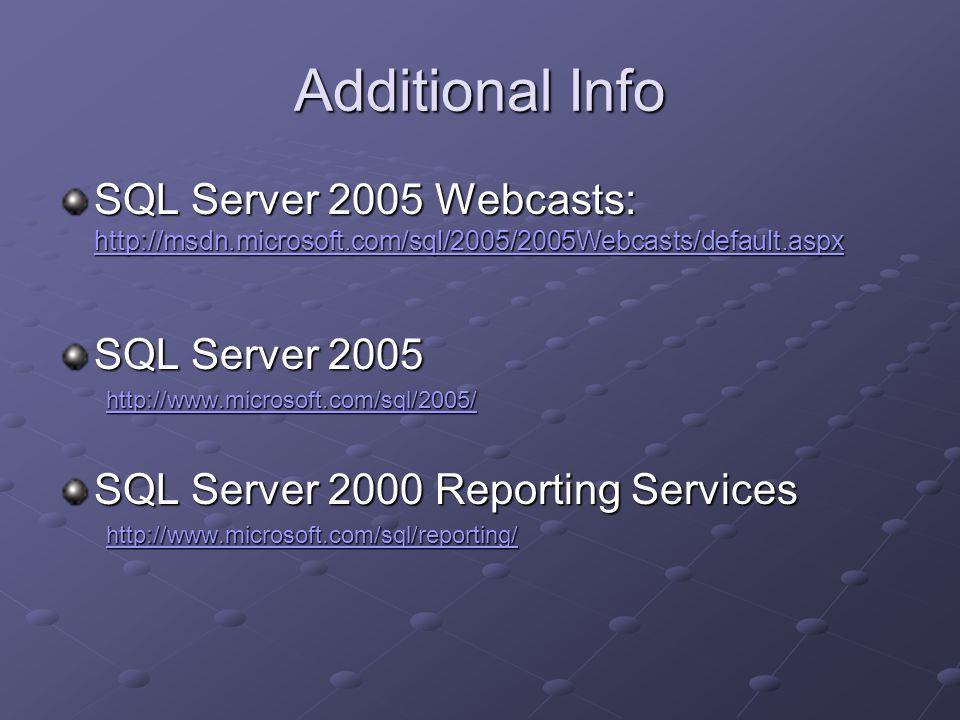 Additional Info SQL Server 2005 Webcasts: http://msdn.microsoft.com/sql/2005/2005Webcasts/default.aspx http://msdn.microsoft.com/sql/2005/2005Webcasts/default.aspx SQL Server 2005 http://www.microsoft.com/sql/2005/ SQL Server 2000 Reporting Services http://www.microsoft.com/sql/reporting/