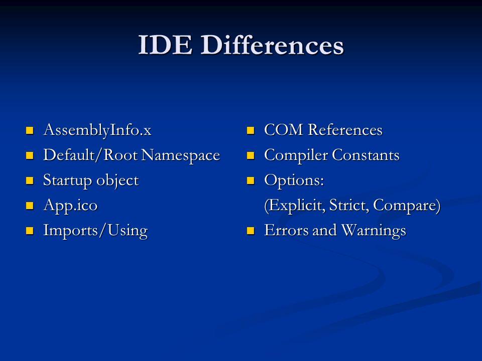 IDE Differences AssemblyInfo.x AssemblyInfo.x Default/Root Namespace Default/Root Namespace Startup object Startup object App.ico App.ico Imports/Usin