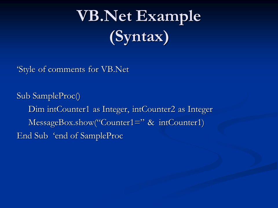 Language Converters C# to VB.NET http://www.aspalliance.com/aldotnet/examples/translate.aspx http://www.aspalliance.com/aldotnet/examples/translate.aspx http://www.kamalpatel.net/ConvertCSharp2VB.aspx http://www.kamalpatel.net/ConvertCSharp2VB.aspx VB.Net to C# http://www.e-iceblue.com http://www.e-iceblue.com http://www.vbconversions.com http://www.vbconversions.com