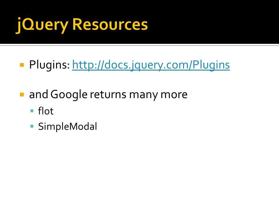Plugins: http://docs.jquery.com/Pluginshttp://docs.jquery.com/Plugins and Google returns many more flot SimpleModal