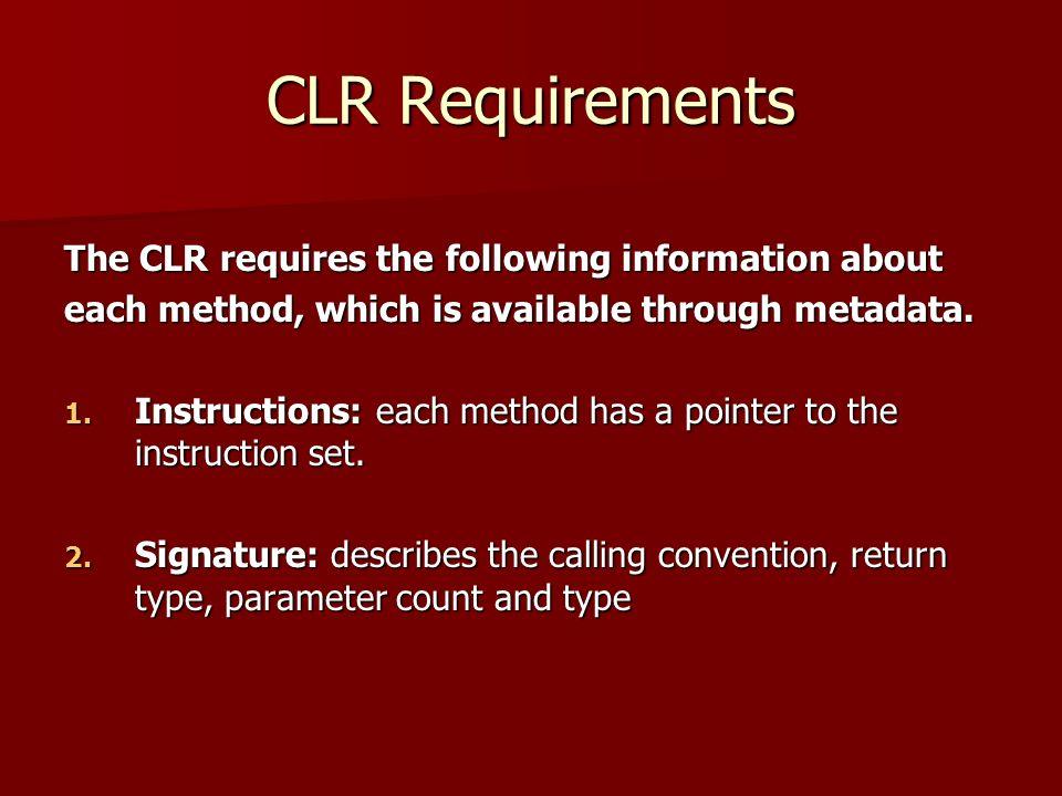CLR Requirements 3.