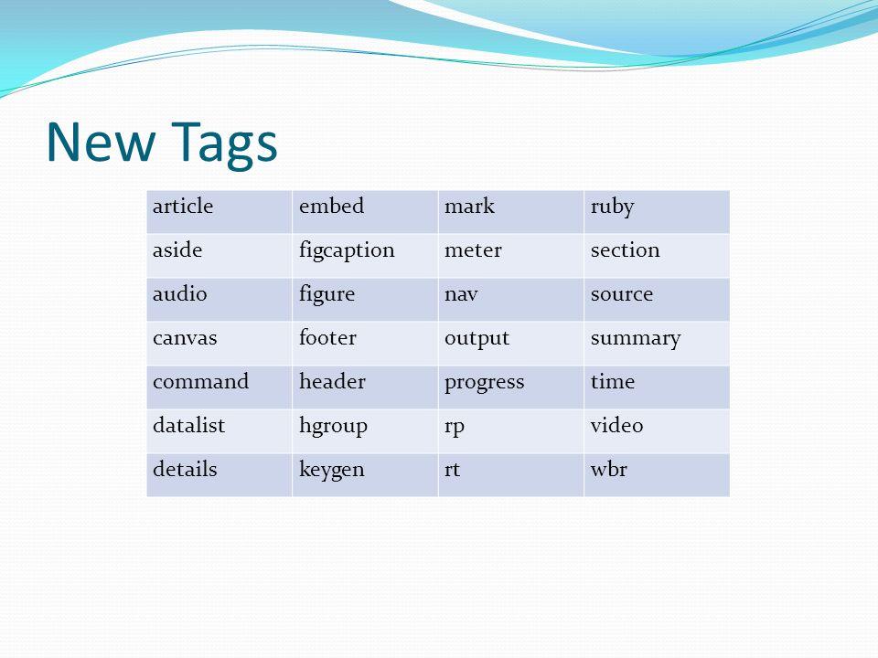New Tags articleembedmarkruby asidefigcaptionmetersection audiofigurenavsource canvasfooteroutputsummary commandheaderprogresstime datalisthgrouprpvid