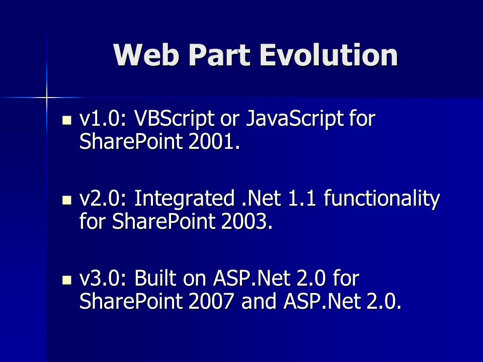 Web Part Evolution v1.0: VBScript or JavaScript for SharePoint 2001.