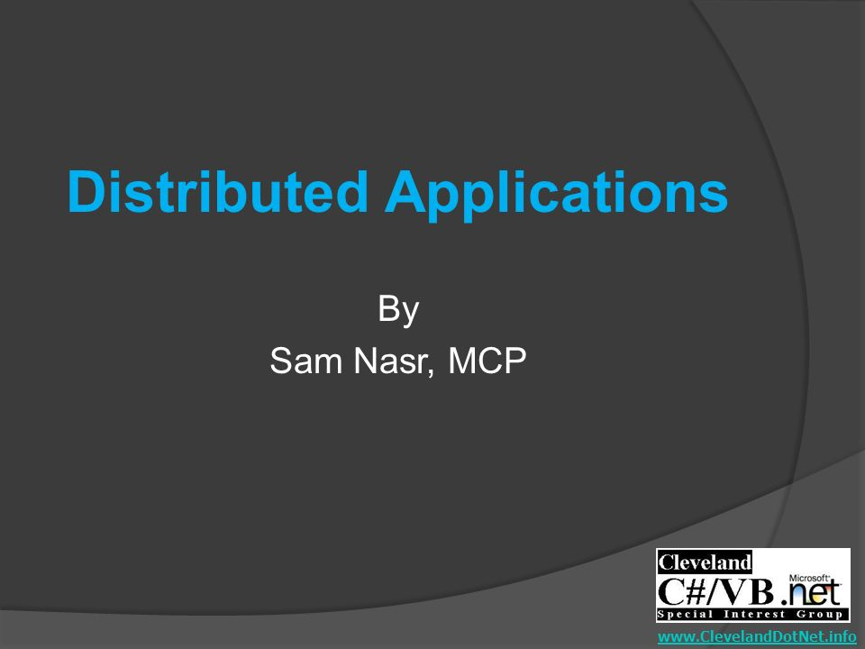 Distributed Applications By Sam Nasr, MCP
