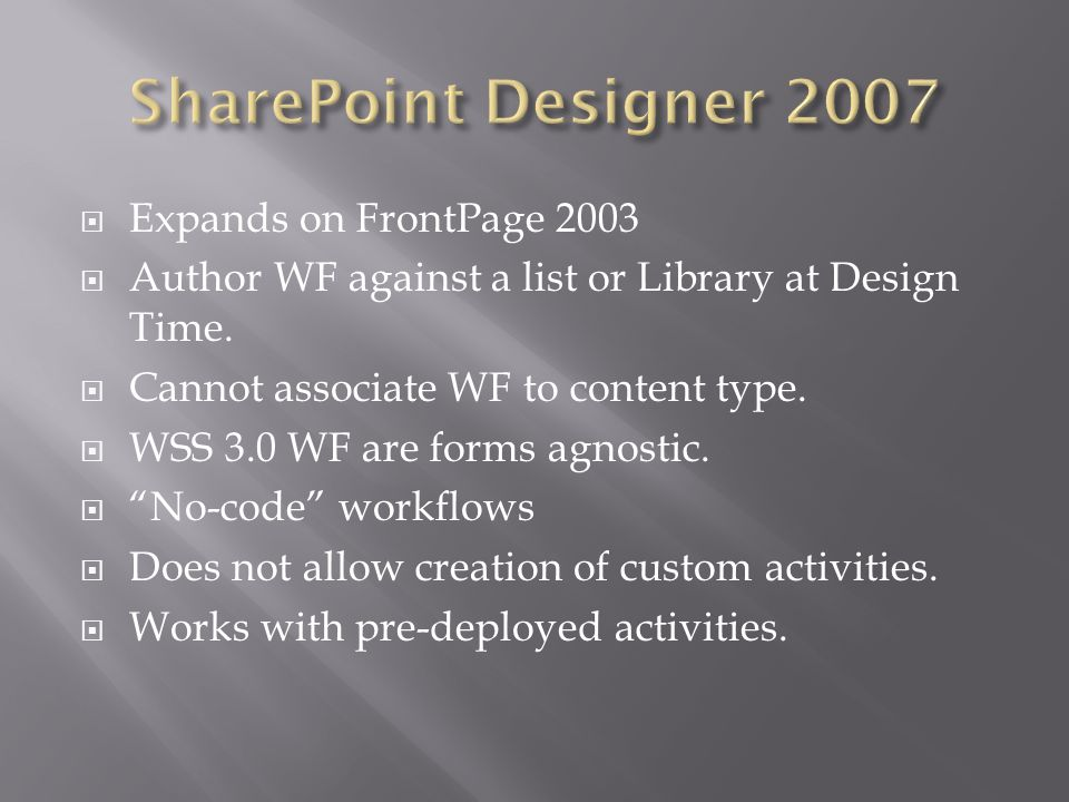 Expands on FrontPage 2003 Author WF against a list or Library at Design Time.