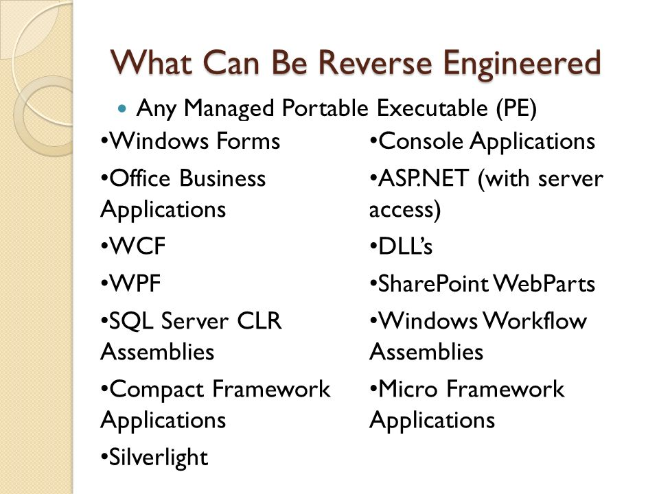 What Can Be Reverse Engineered Any Managed Portable Executable (PE) Windows Forms Console Applications Office Business Applications ASP.NET (with server access) WCF DLLs WPF SharePoint WebParts SQL Server CLR Assemblies Windows Workflow Assemblies Compact Framework Applications Micro Framework Applications Silverlight