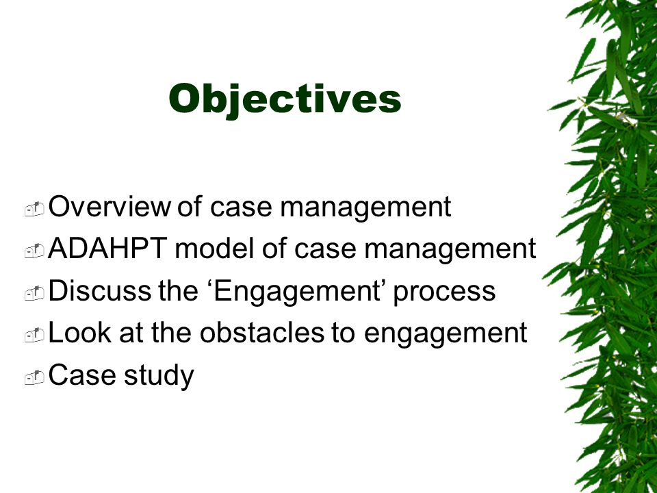 Objectives Overview of case management ADAHPT model of case management Discuss the Engagement process Look at the obstacles to engagement Case study