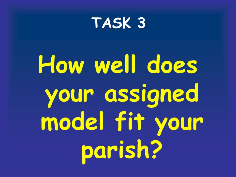 TASK 3 How well does your assigned model fit your parish