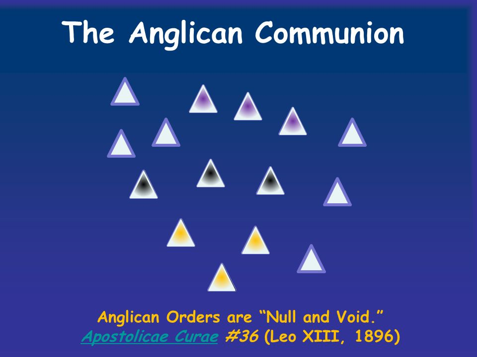 The Anglican Communion Anglican Orders are Null and Void.