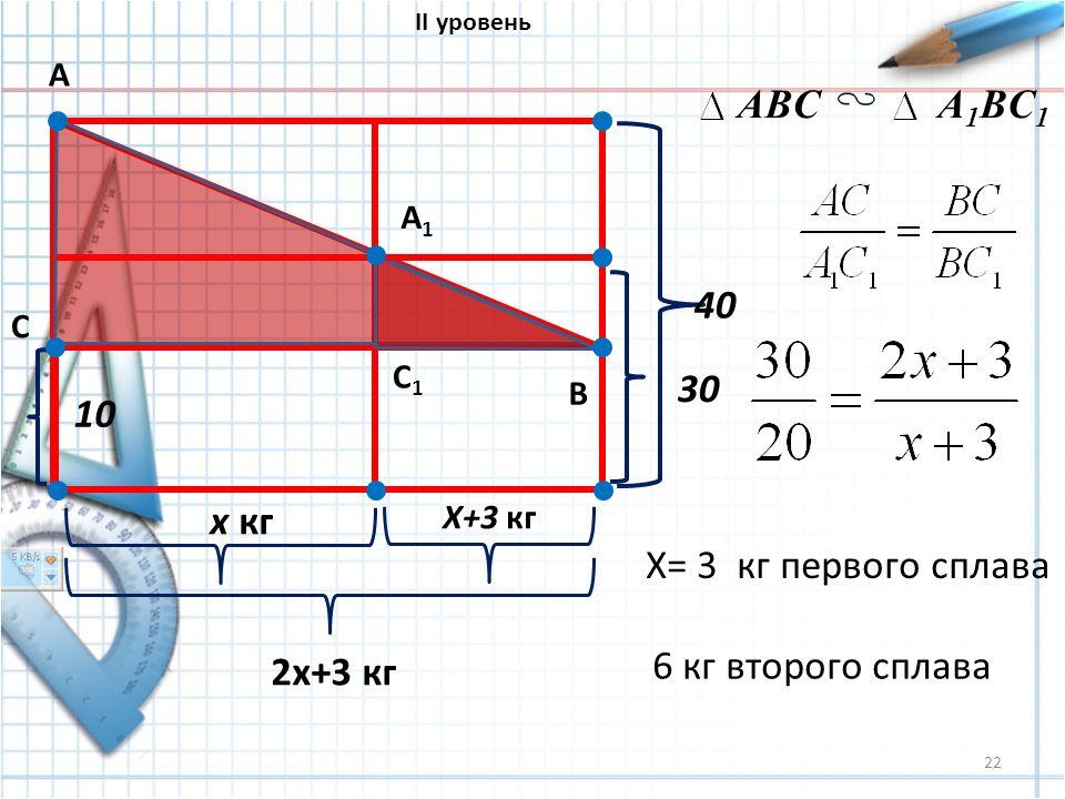 22 10 х кг Х+3 кг 2х+3 кг 30 40 А В С А1А1 С1С1 ABCA 1 BC 1 X= 3 кг первого сплава 6 кг второго сплава II уровень