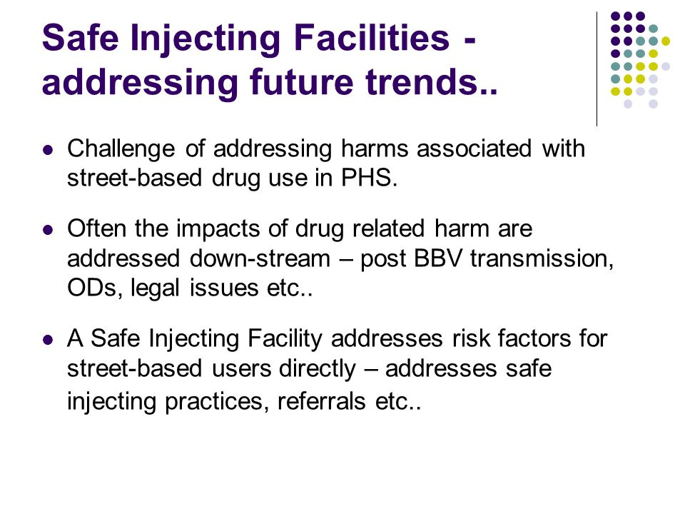 Safe Injecting Facilities - addressing future trends..