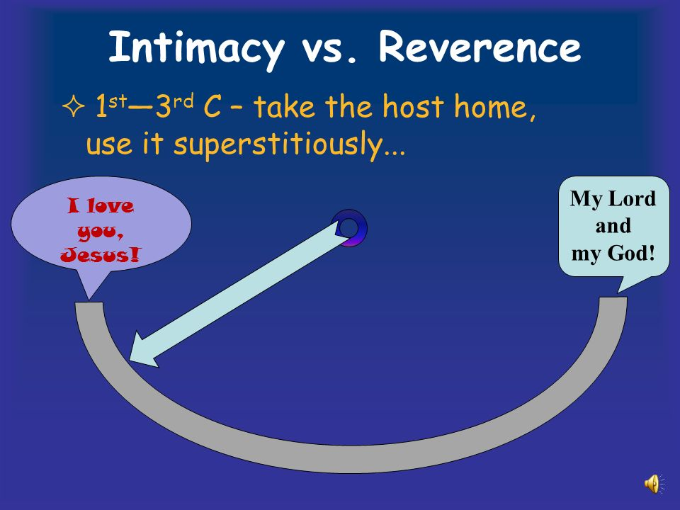 Intimacy vs. Reverence 1 st 3 rd C – take the host home, use it superstitiously...