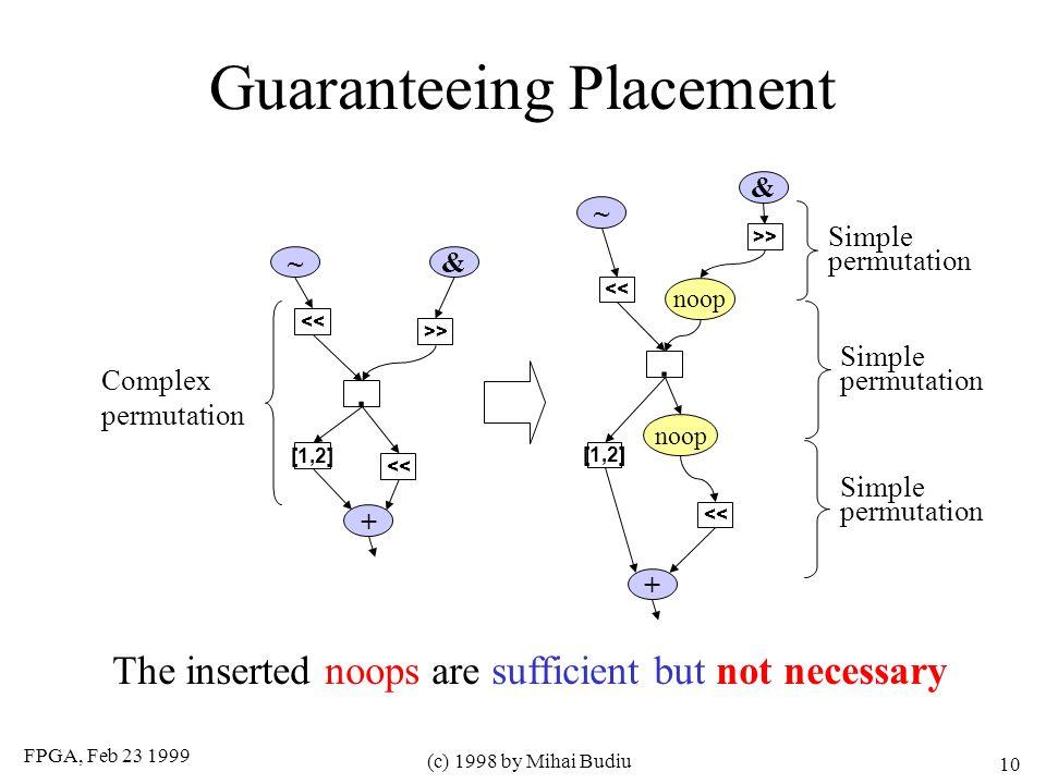 FPGA, Feb 23 1999 (c) 1998 by Mihai Budiu 10 Guaranteeing Placement +. << [1,2] >> << &~ +. [1,2] >> << & ~ noop Complex permutation Simple permutatio