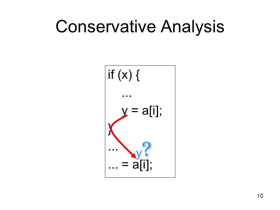 10 Conservative Analysis if (x) {... y = a[i]; } = a[i]; y y
