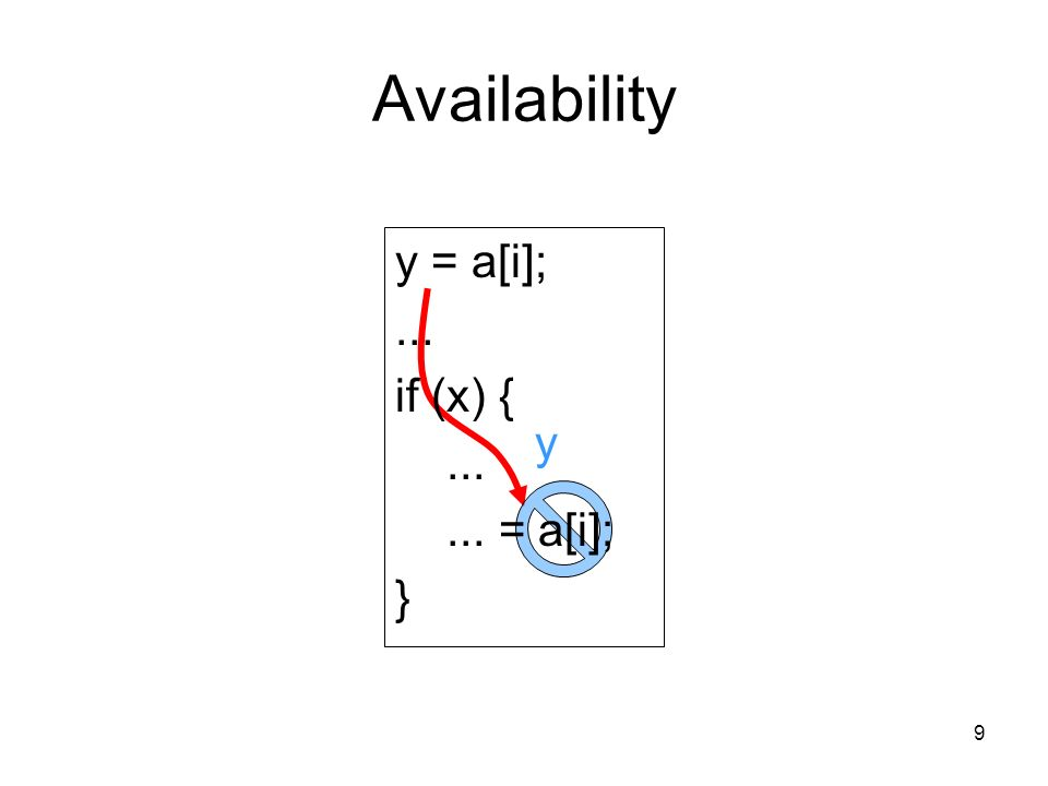 9 Availability y y = a[i];... if (x) { = a[i]; }
