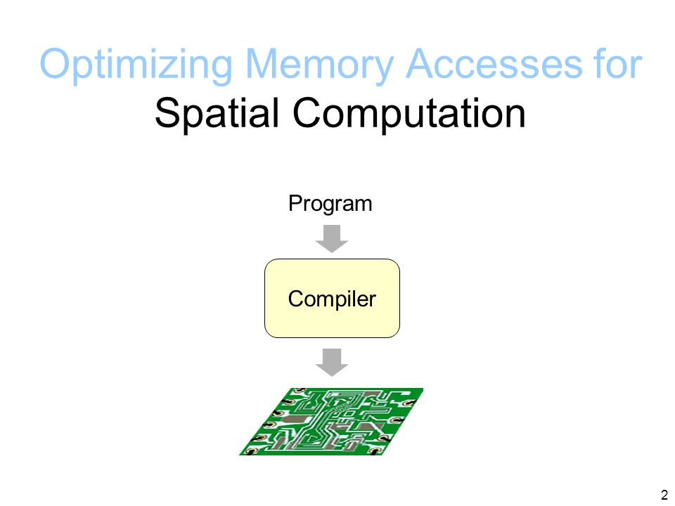 Optimizing Memory Accesses for Spatial Computation Mihai Budiu, Seth Goldstein CGO 2003