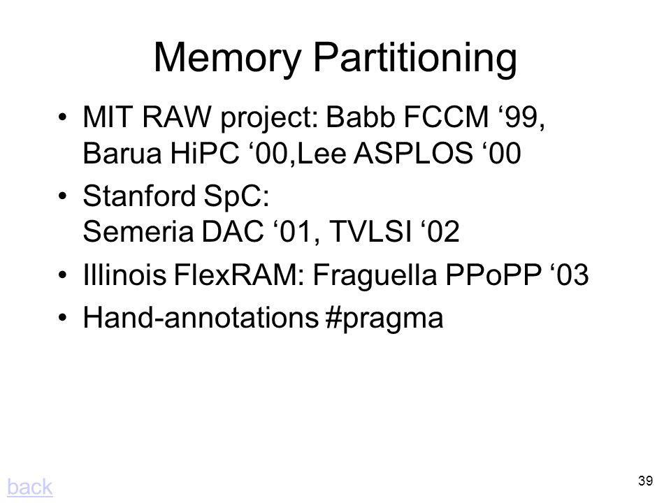 39 Memory Partitioning MIT RAW project: Babb FCCM 99, Barua HiPC 00,Lee ASPLOS 00 Stanford SpC: Semeria DAC 01, TVLSI 02 Illinois FlexRAM: Fraguella PPoPP 03 Hand-annotations #pragma back