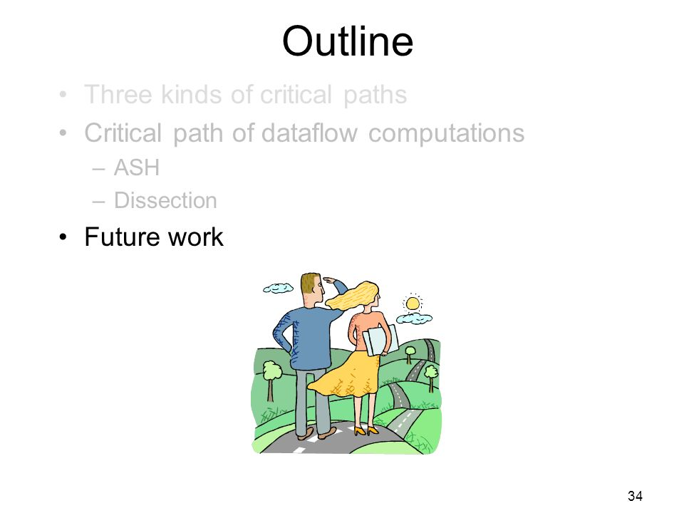 34 Outline Three kinds of critical paths Critical path of dataflow computations –ASH –Dissection Future work