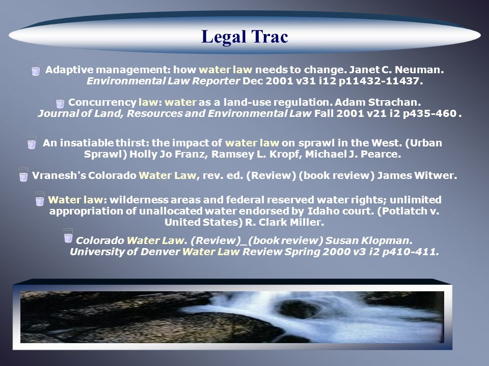 Legal Trac Adaptive management: how water law needs to change.